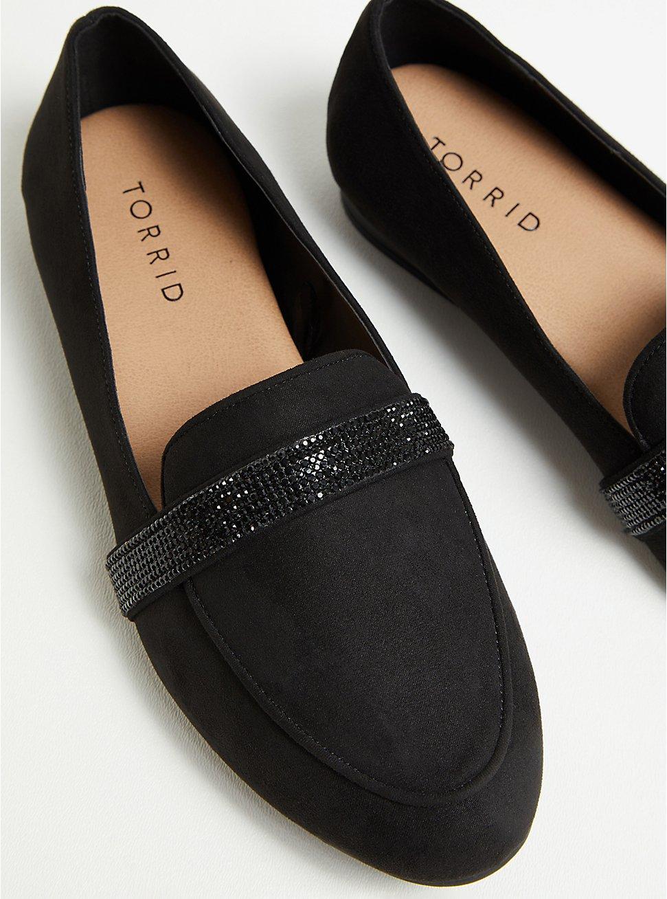 Black Faux Suede Embellished Band Loafer (WW), BLACK, hi-res