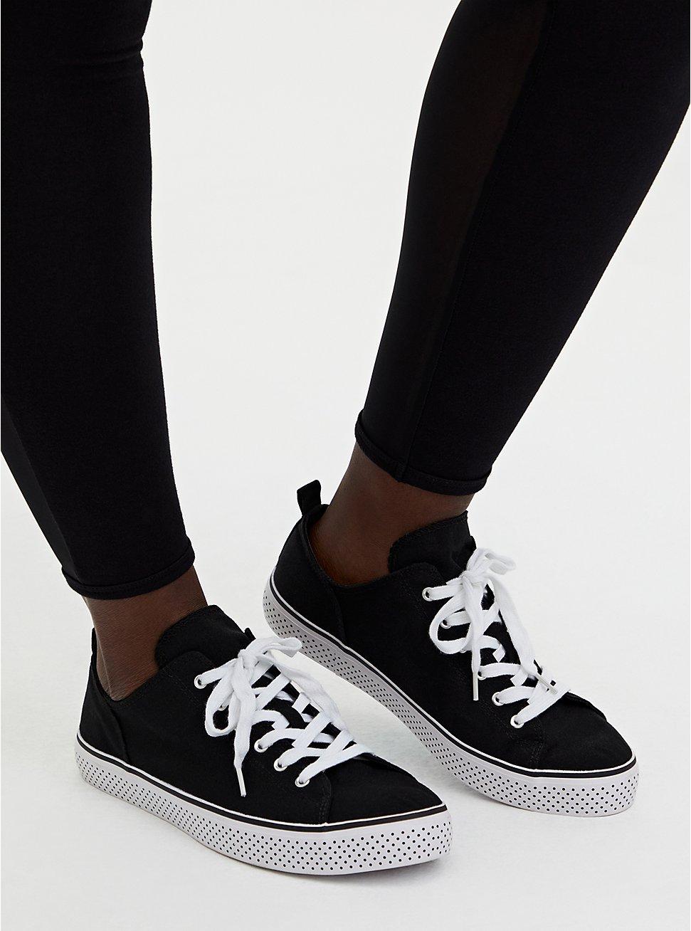 Black Canvas Polka Dot Sole Sneaker (WW), BLACK, hi-res