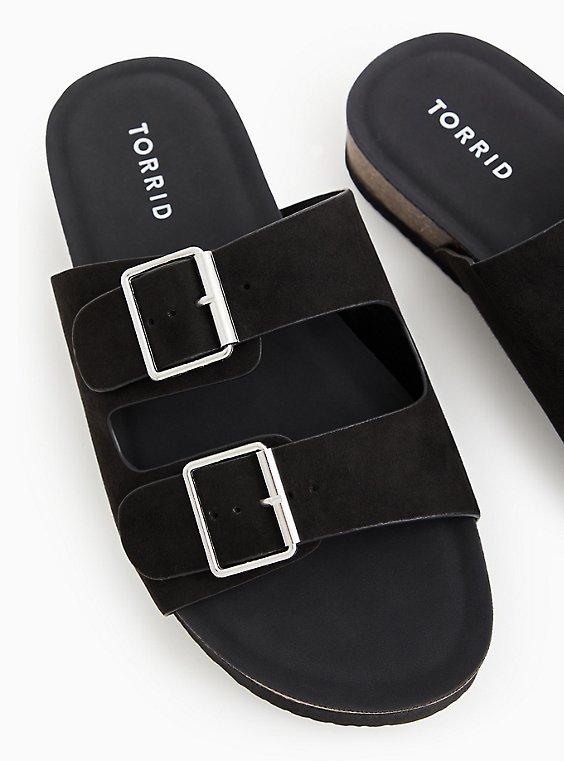 Black Faux Suede Double Buckle Slide Sandal (WW), , hi-res