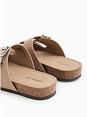 Taupe Faux Suede Double Buckle Slide Sandal (WW), TAN/BEIGE, alternate
