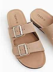 Taupe Faux Suede Double Buckle Slide Sandal (WW), TAN/BEIGE, hi-res