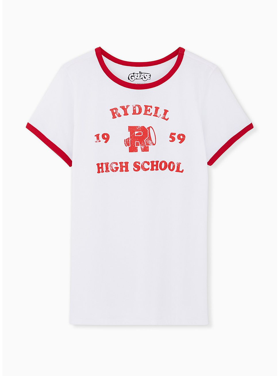 Grease Rydell High Classic Fit Ringer Tee - White, BRIGHT WHITE, hi-res