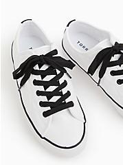 White & Black Faux Leather Quilted Sneaker (WW), WHITE, alternate