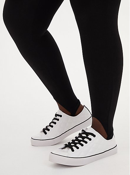 White & Black Faux Leather Quilted Sneaker (WW), WHITE, hi-res