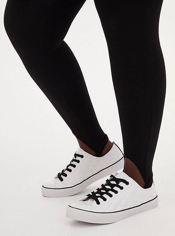 Plus Size White & Black Faux Leather Quilted Sneaker (WW), WHITE, hi-res