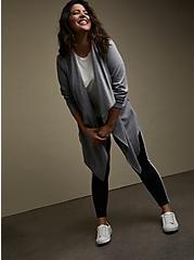 Heather Grey Brushed Ponte Drape Front Jacket, MEDIUM GREY, alternate