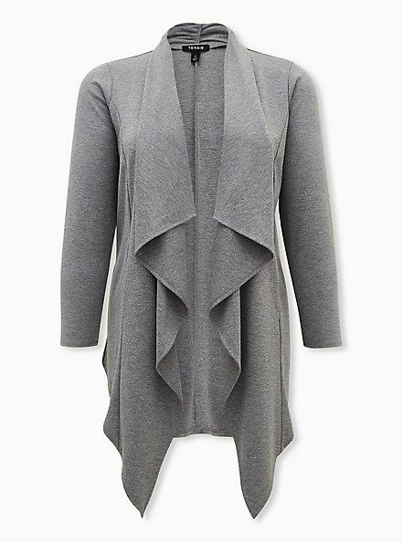 Heather Grey Brushed Ponte Drape Front Jacket, MEDIUM GREY, hi-res