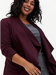 Burgundy Purple Brushed Ponte Drape Front Jacket, JUNEBUG, alternate