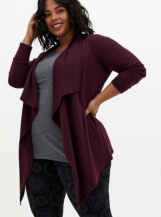 Burgundy Purple Brushed Ponte Drape Front Jacket, JUNEBUG, hi-res