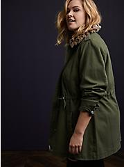 Olive Green Twill & Leopard Collar Faux Fur Lined Anorak, DEEP DEPTHS, alternate