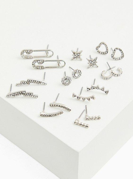 Plus Size Silver-Tone Rhinestone Safety Pin Stud & Huggie Hoop Earrings-Set Of 9, , hi-res