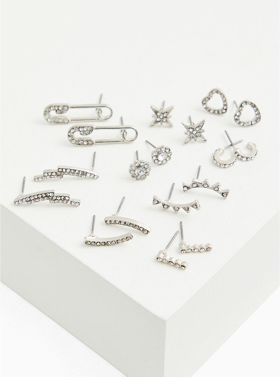 Silver-Tone Rhinestone Safety Pin Stud & Huggie Hoop Earrings-Set Of 9, , hi-res