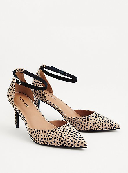 Cheetah Faux Suede Ankle Strap Pointed Toe Heel (WW), ANIMAL, alternate