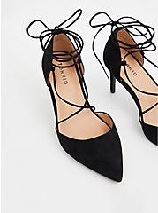Black Faux Suede Ankle Wrap Pointed Toe Heel (WW), BLACK, alternate