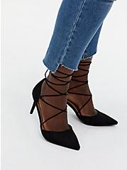 Black Faux Suede Ankle Wrap Pointed Toe Heel (WW), BLACK, hi-res
