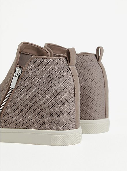 Taupe Quilted Wedge Sneaker, TAN/BEIGE, alternate