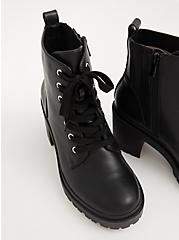 Black Chunky Lace-Up Hiker Boot (WW), BLACK, alternate