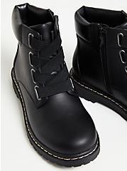 Black Elastic Band Combat Boot (WW), BLACK, alternate