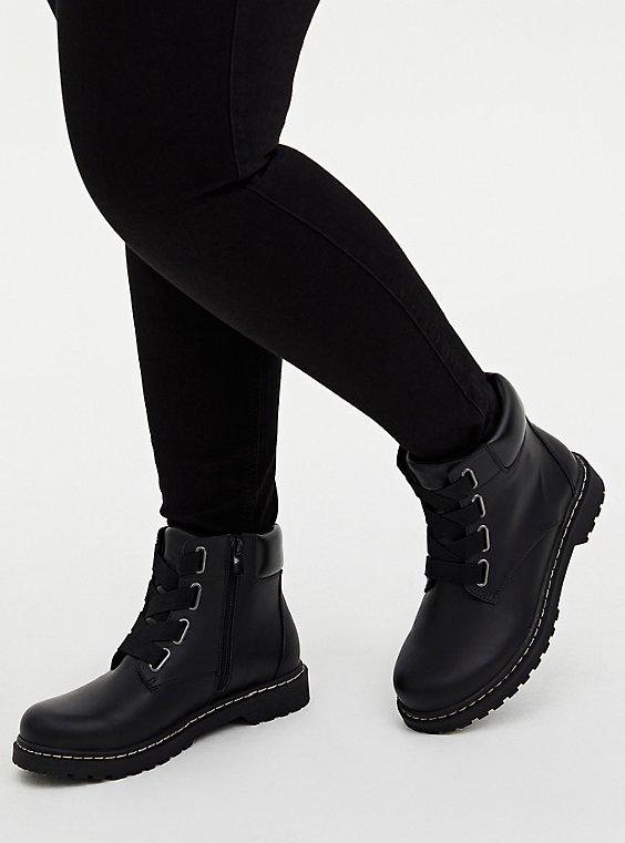Black Elastic Band Combat Boot (WW), , hi-res