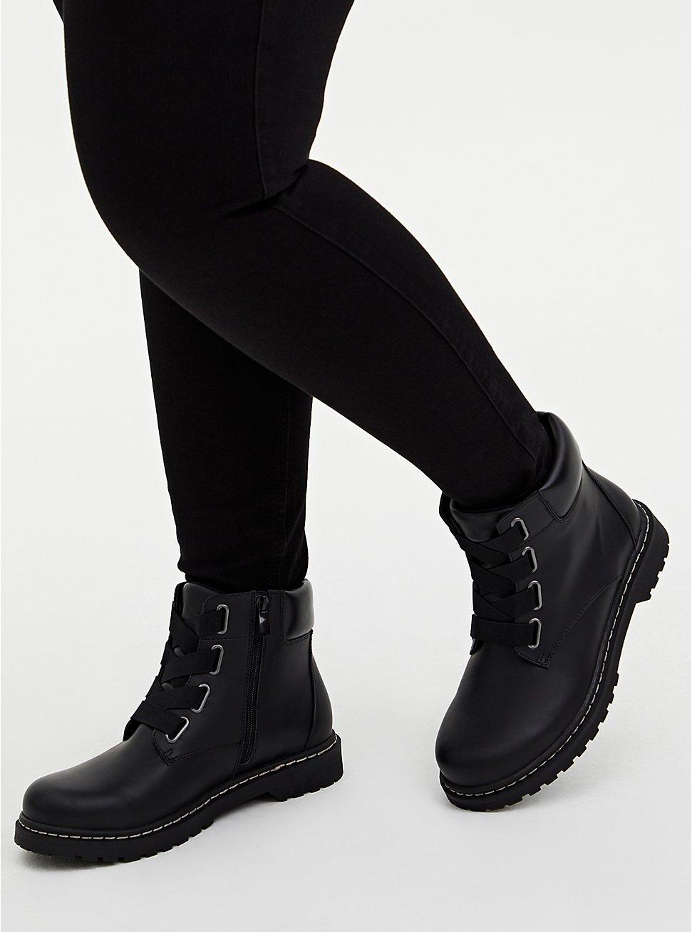 Black Elastic Band Combat Boot (WW), BLACK, hi-res