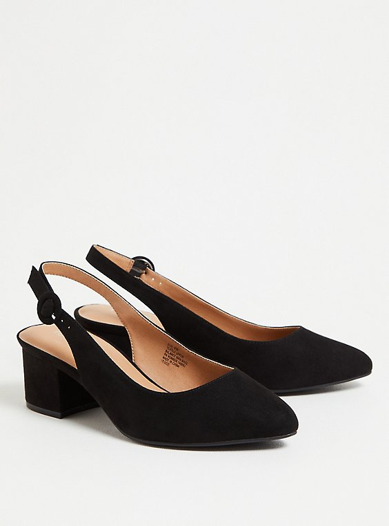 Plus Size Black Faux Suede Slingback Pump (WW), BLACK, hi-res