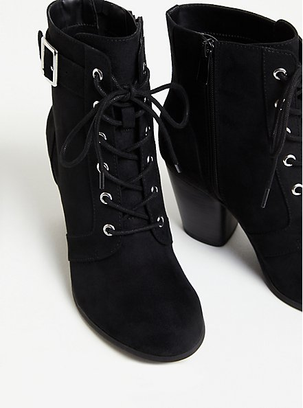 Black Faux Suede Lace-Up Bootie (WW), BLACK, alternate