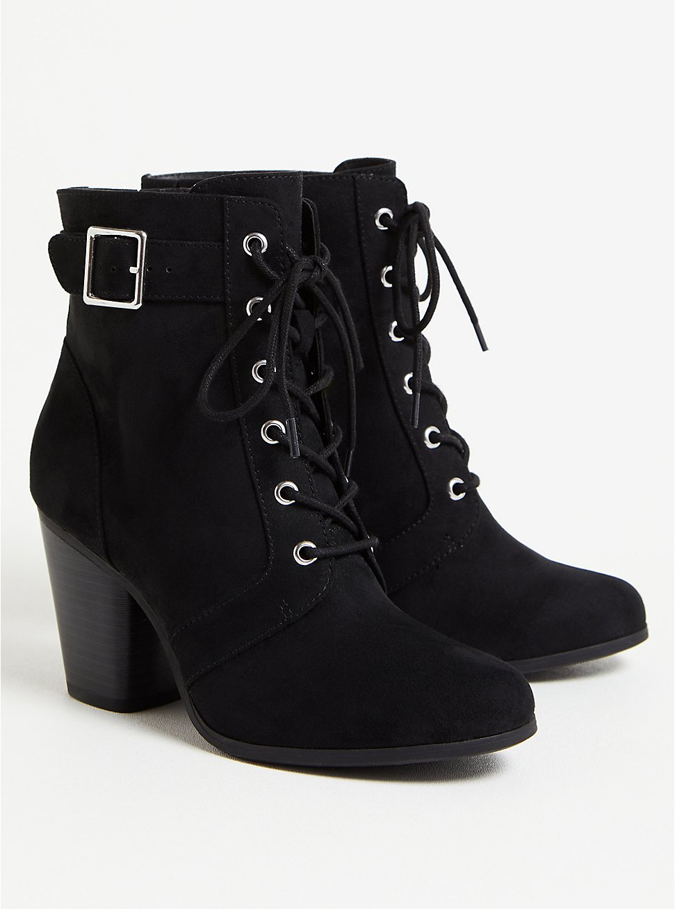 Black Faux Suede Lace-Up Bootie (WW), BLACK, hi-res