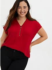Red Georgette Zip Front Dolman Blouse, JESTER RED, hi-res