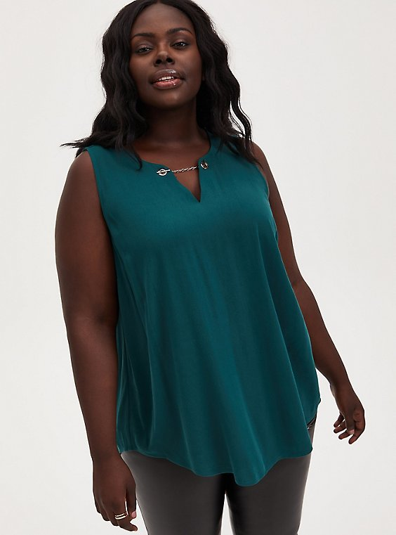 Teal Crepe Chain Front Tank , TEAL, hi-res