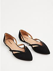 Black Faux Suede Rhinestone Pointed Toe Flat (WW), BLACK, alternate
