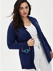 Disney Lilo & Stitch Scrump & Stitch Navy Hooded Cardigan, MEDEVIAL BLUE, hi-res