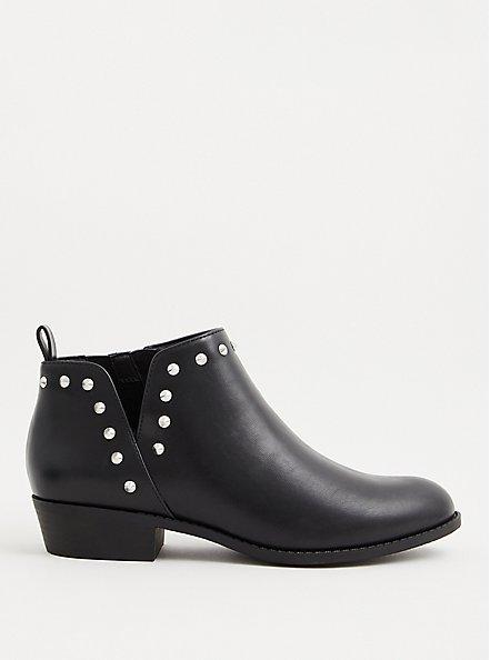 Black Faux Leather Studded V-Cut Ankle Boot (WW), BLACK, alternate