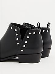 Black Faux Leather Studded V-Cut Ankle Boot (WW), BLACK, alternate