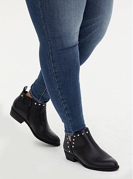 Black Faux Leather Studded V-Cut Ankle Boot (WW), BLACK, hi-res