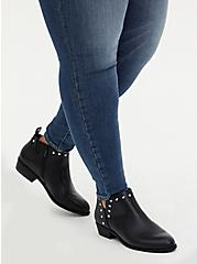 Black Faux Leather Studded V-Cut Ankle Boot (WW), BLACK, hi-res