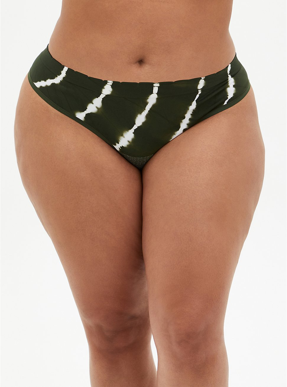 Olive Green Tie-Dye Seamless Thong Panty, , hi-res