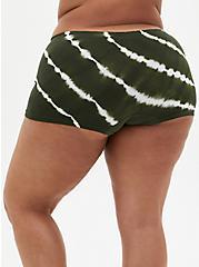 Olive Green Tie-Dye Seamless Boyshort Panty, , alternate