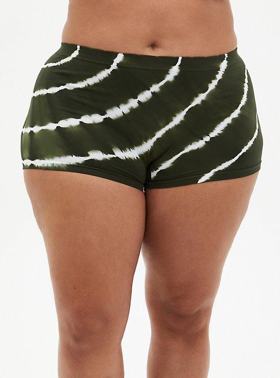 Olive Green Tie-Dye Seamless Boyshort Panty, , hi-res