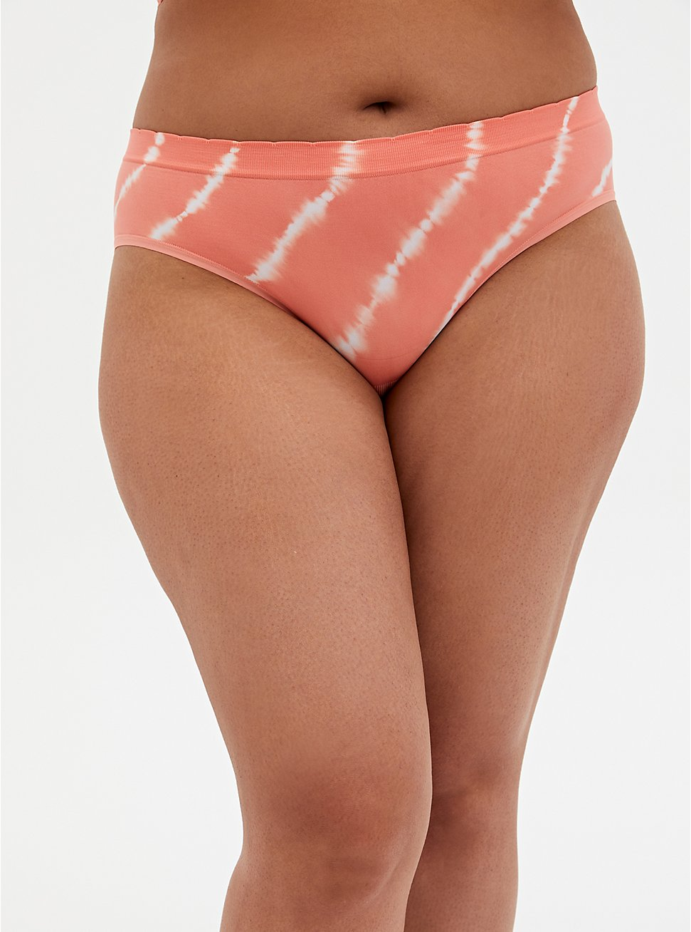 Coral Tie-Dye Seamless Hipster Panty , , hi-res