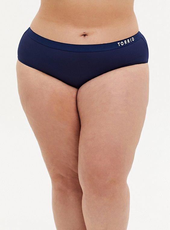 Plus Size Torrid Logo Navy Microfiber Active Hipster Panty, MEDEVIAL BLUE, hi-res