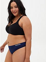 Torrid Logo Navy Microfiber Active Thong Panty, MEDEVIAL BLUE, alternate