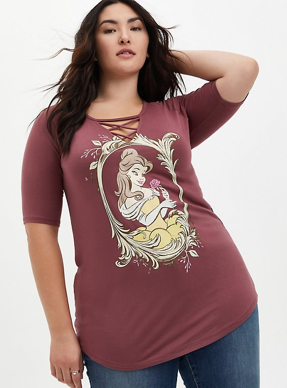 Disney Beauty & The Beast Belle Walnut Lace-Up Raglan Tunic , ROSE BROWN, hi-res
