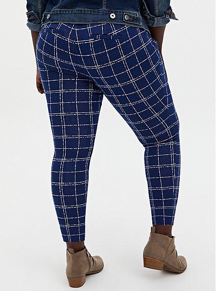 Studio Signature Double Knit Navy Skinny Ankle Pant, PLAID - NAVY, alternate