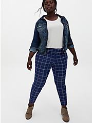 Studio Signature Double Knit Navy Skinny Ankle Pant, PLAID - NAVY, alternate
