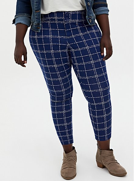 Studio Signature Double Knit Navy Skinny Ankle Pant, PLAID - NAVY, hi-res