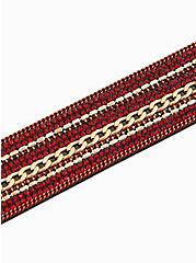 Burgundy Red Bead & Gold-Tone Chain-Link Magnetic Bracelet, RED, alternate