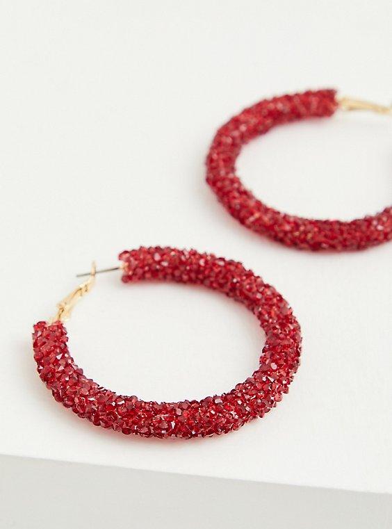 Embellished Red Beaded Hoop Earrings, , hi-res