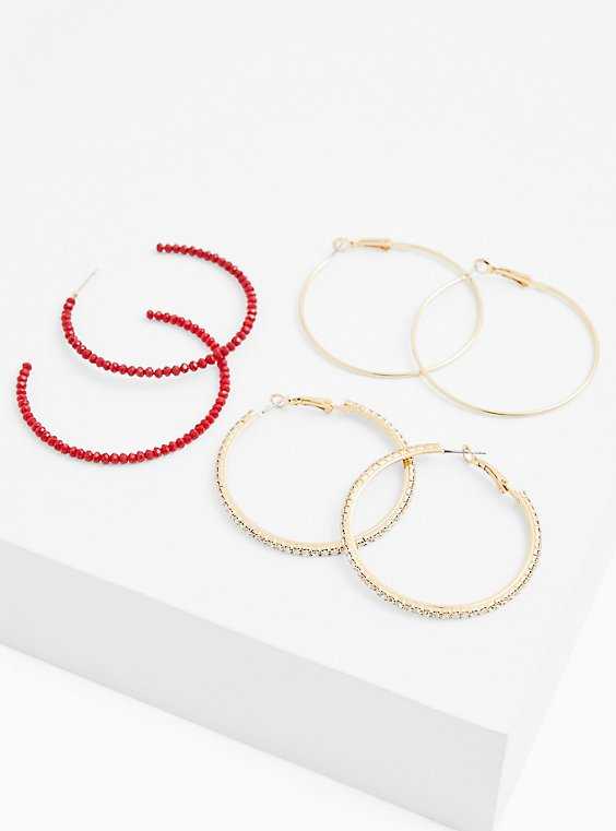 Holiday Red Faux Stone Embellished Hoop Earrings- Set Of 3, , hi-res