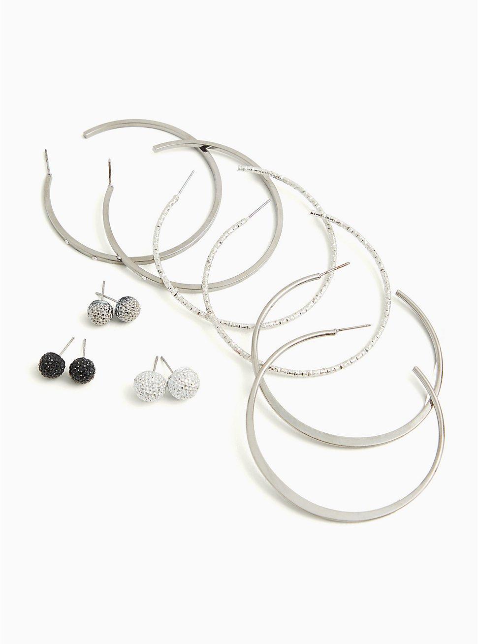 Black & Silver-Tone Embellished Ball Stud & Hoop Earrings- Set Of 6, , hi-res