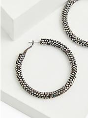 Black Sparkle Hoop Earrings, , alternate